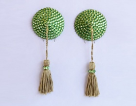 Swarovski Encrusted Pasties (Peridot with Sage Green Tassels)